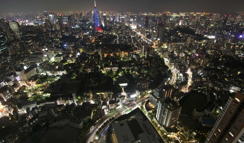 tokyo, japanese, япония, tokio, взгляд, здания, сверху, города, город,