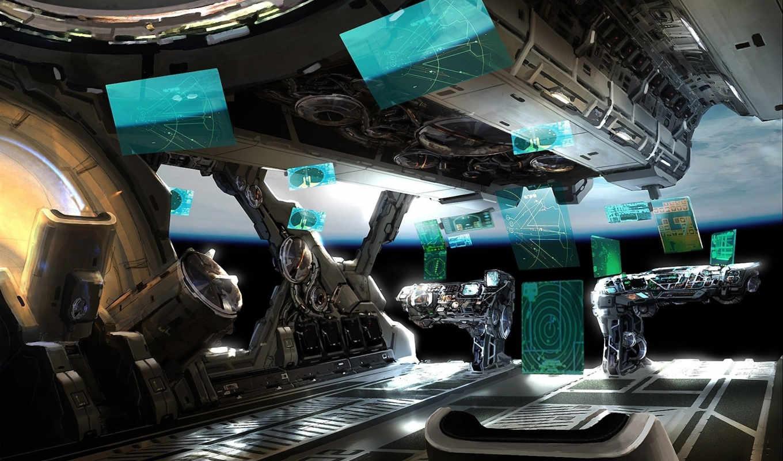арт, отсек, управление, интерфейс, корабль, yang, mark, планета, космос, fantasy, картинка,