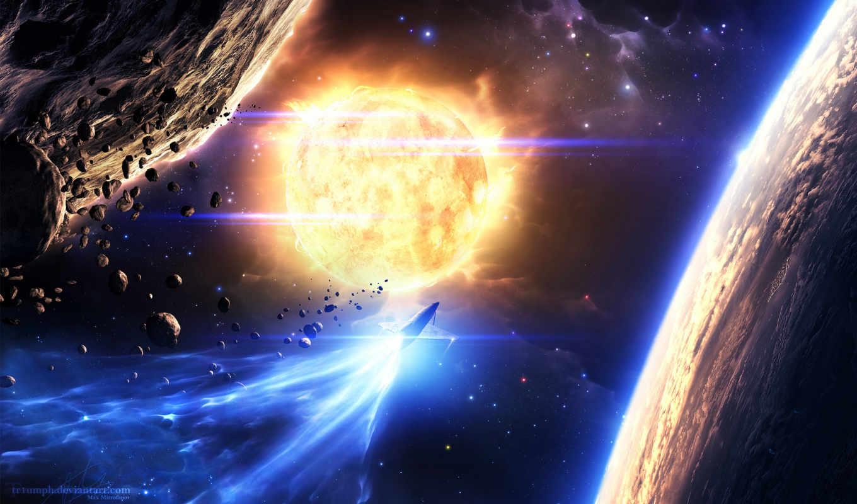 планеты, корабль, звезды, space, астероиды, звезда, одним, файлом, turbobit,