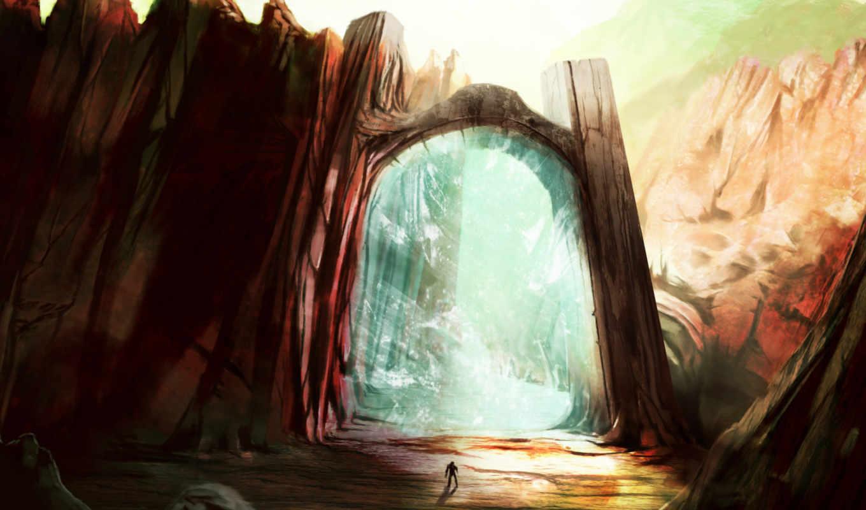 gate, портал, магия, мужчина, фэнтези, паранджа, скалы, самых, art,