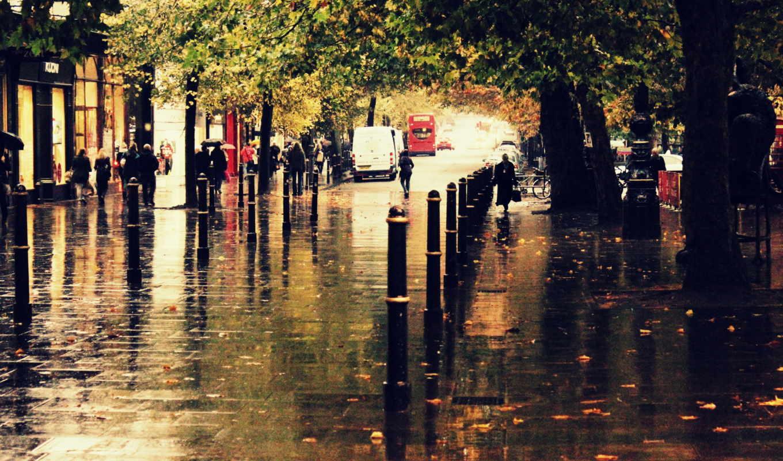 дождь, город, улица, осень,
