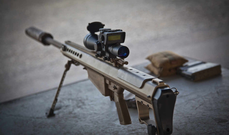 barrett, винтовка, снайперская, оружие, свет, fifty, крупнокалиберна,