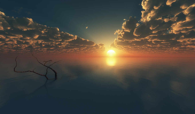 ocean, закат, море, небо, water, oblaka,