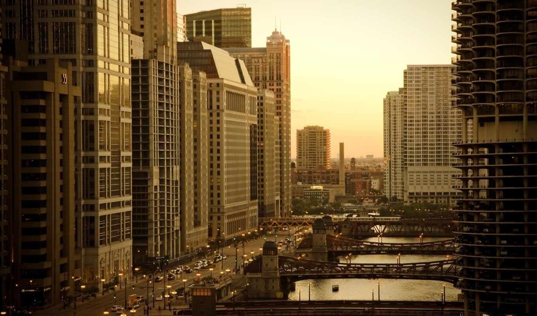 chicago, улица, небоскрёба, мост, building, сша, город