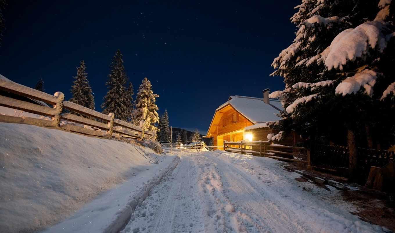 обои, зима, дорога, красивые, winter, домик, скача