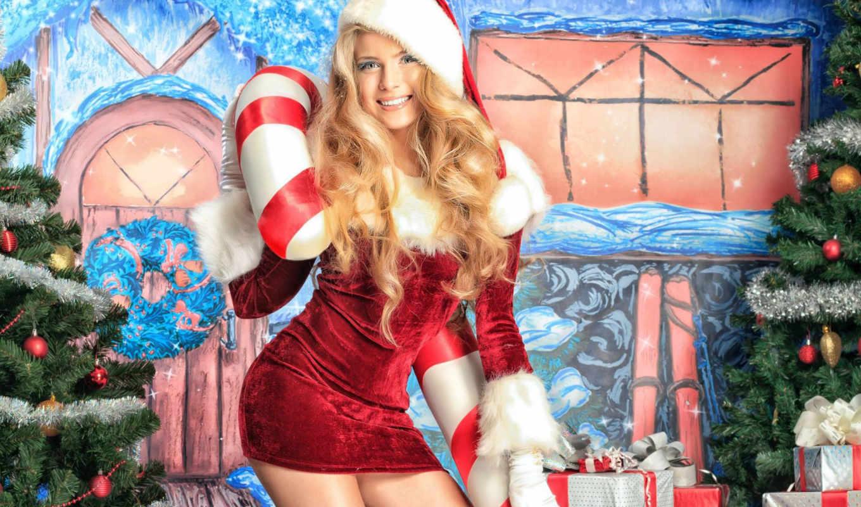 снегурочка, девушки, год, новый, santa, сексуальные, girl, helper, year, new, christmas, pretty, блондинка,