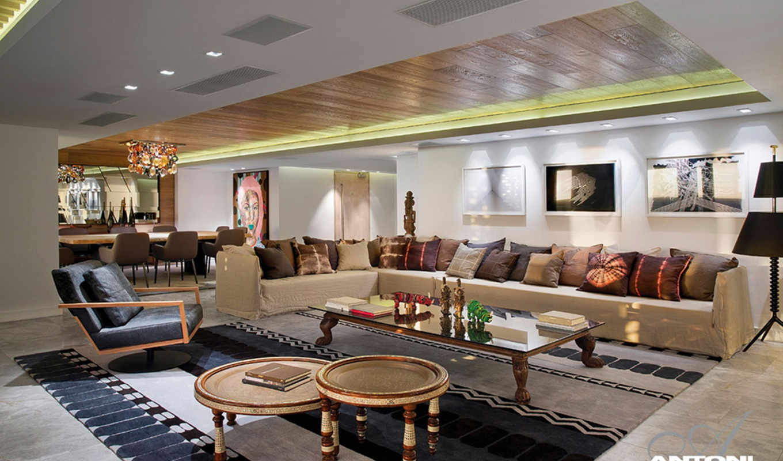 дизайн, гостиной, стиле, современный, от, современном,