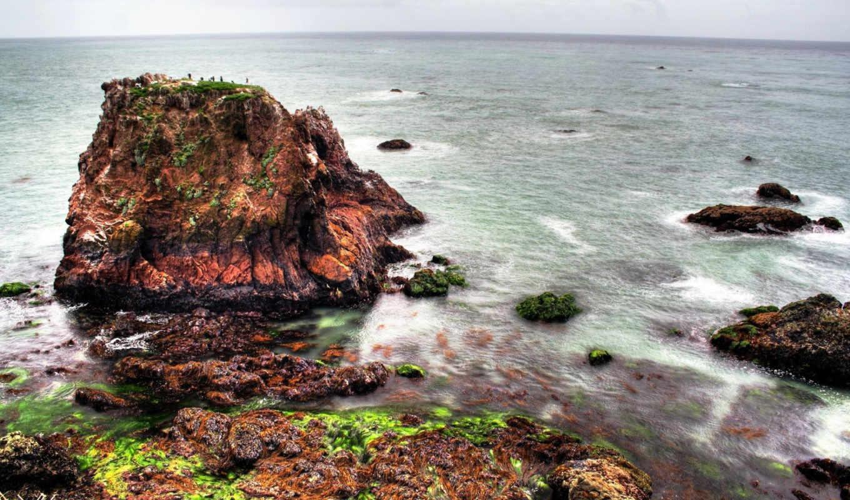 море, скалы, скалах, водоросли, hdr, красивые,