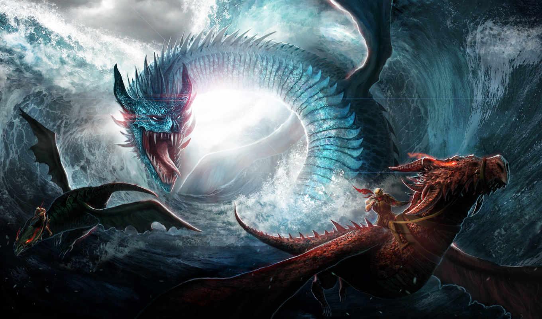 драконы, фэнтези, дельфины, море, животные, воители, волны,