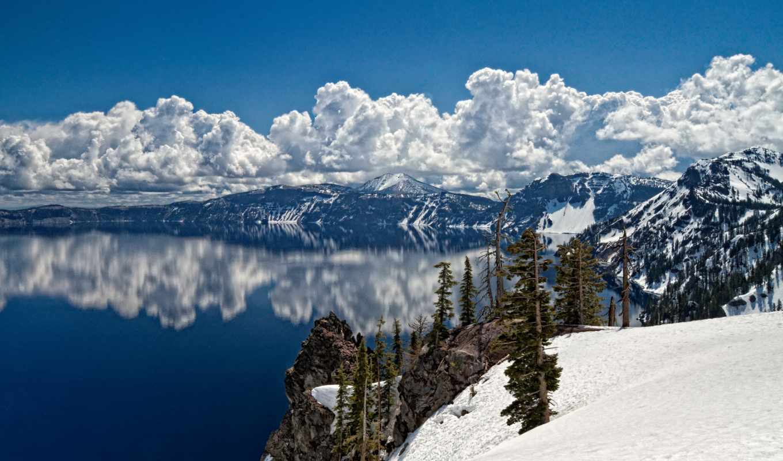 небо, озеро, гора, blue, снег, winter, горы, reflextion, water, природа, ago,