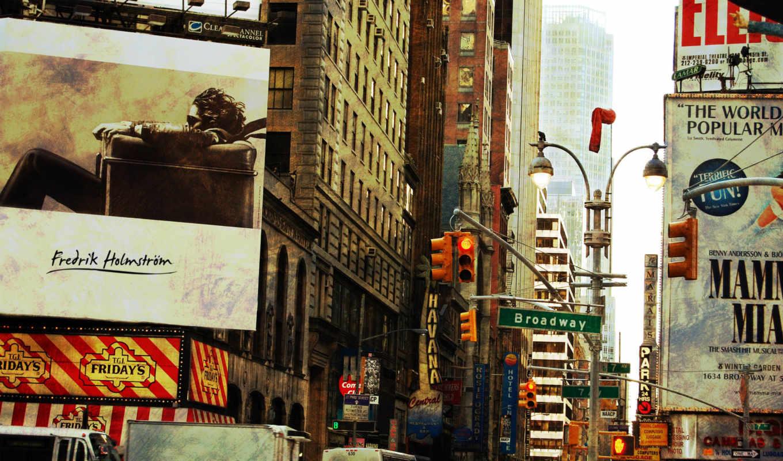 broadway, new, york, нью, картинка, улица,