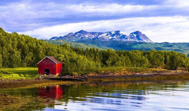 норвегия, wonderful, лес, house, река, landscape, горы,