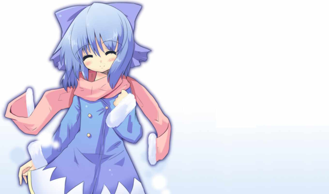 hair, snow, blue, white, scarf, cirno, bow, blush, touhou, background,