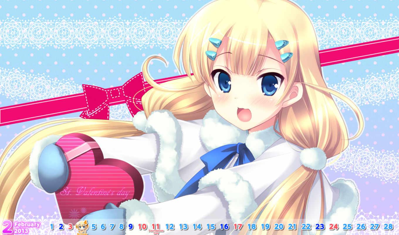minamura, airi, hair, with, blue, blush, ribbon, calendar, eyes, ikegami, blonde, akane, gloves, аниме, valentine, game,