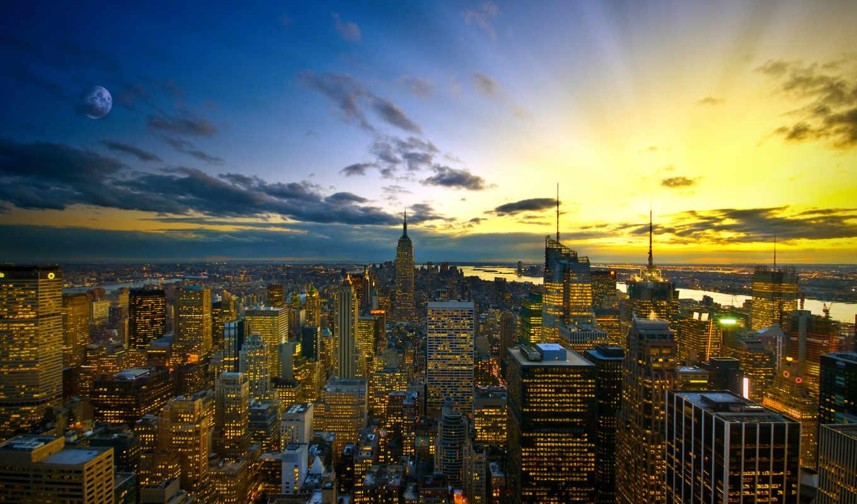 new, york, город, high,
