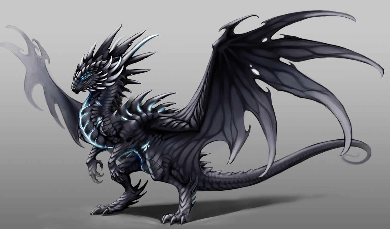 дракон, art, буря,