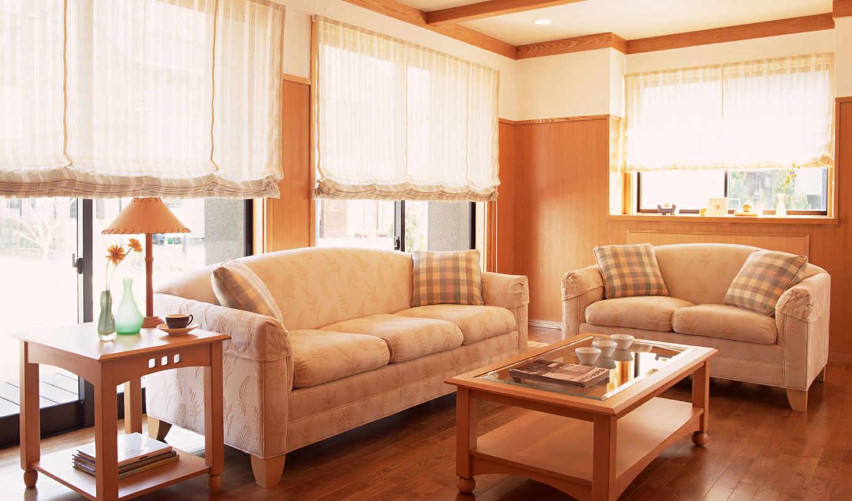 виды, шторы, диван, столик,гостинная,окна,
