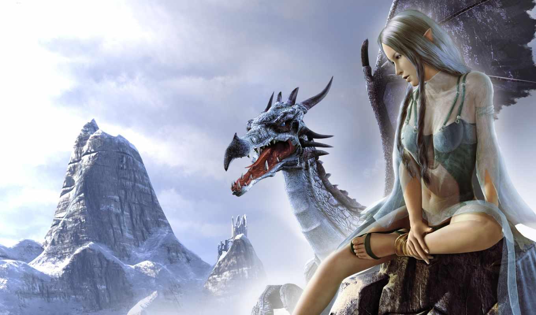дракон, девушка, fantasy,