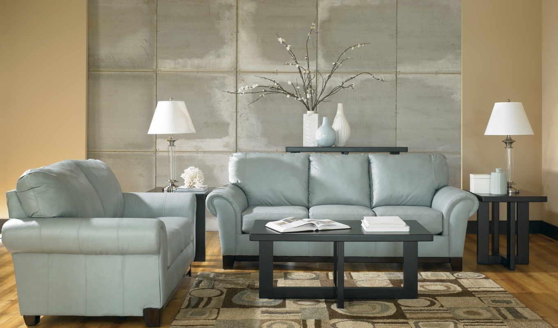 дизайн, комната, диван, интерьер, мебель, журнальный, ковёр, вазы, голубые, кресло, лампы, тона, leather, столик, растение,