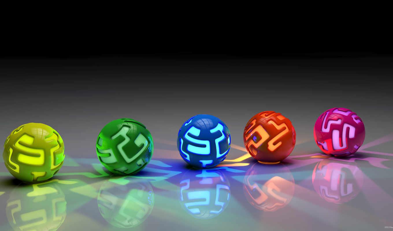 фона, трехмерной, графикой, шары, colourful,