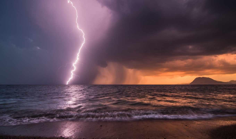молния, море, берег, пасмурно, горизонт, тучи, гроза, непогода, изображения, gdefon, небо, вечер, морем, крыма, картинку, во, пейзажи, над, сильные, тому, время,