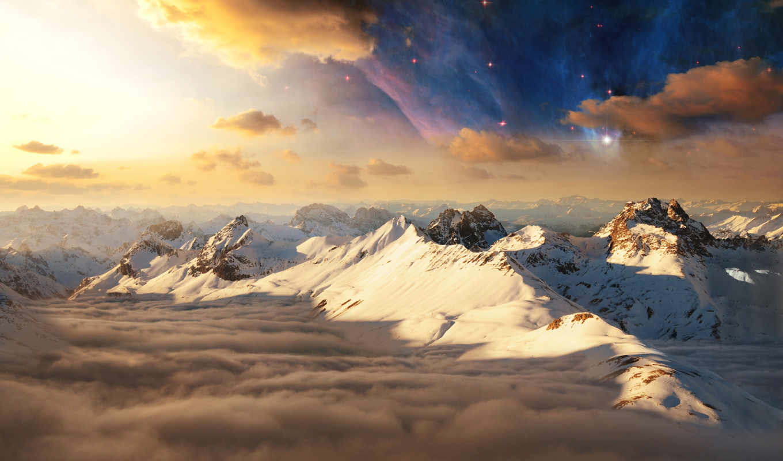 небо, горы, облака, вершины, снег, sun, природа, kingdom, лес,