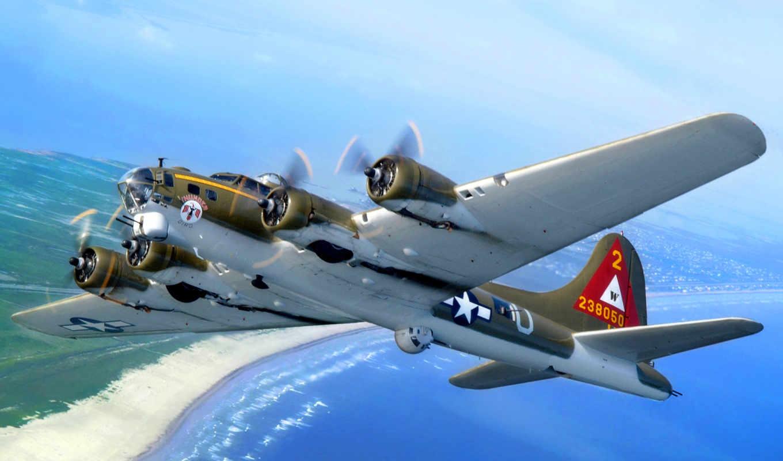 бомбардировщик, самолёт, plane, море, побережье, военный, planes, небо,
