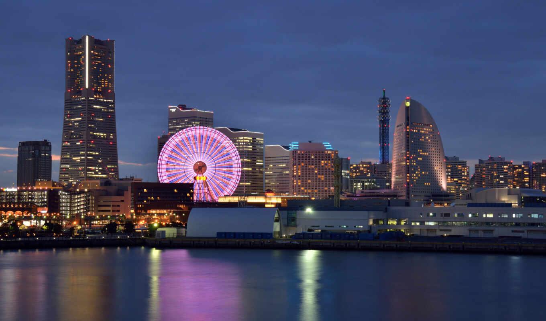 yokohama, япония, города, обозрения, колесо, йокогама,