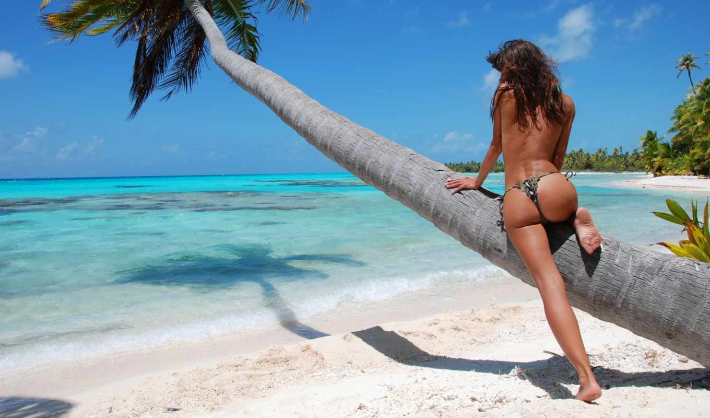 пляж, ocean, небо, palm, ass, песок, девушка, природа, красавица,