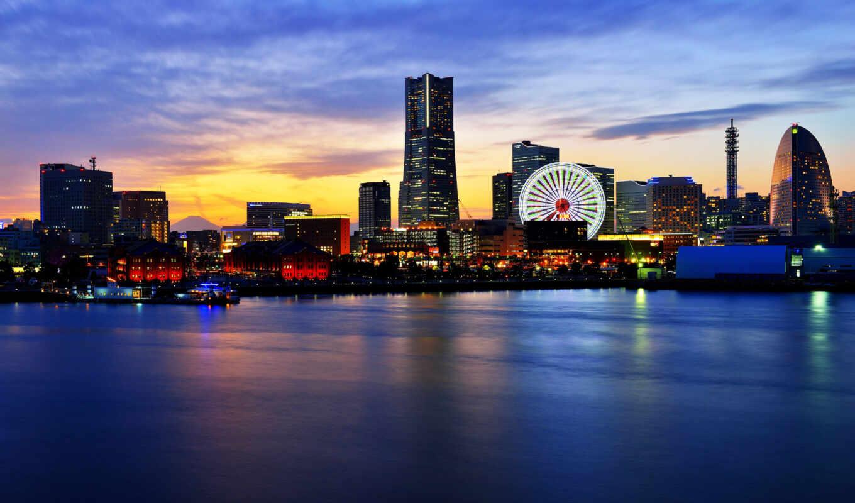 город, города, широкоформатные, панорама, нояб, yokohama, здания, йокогама, мб, огни,