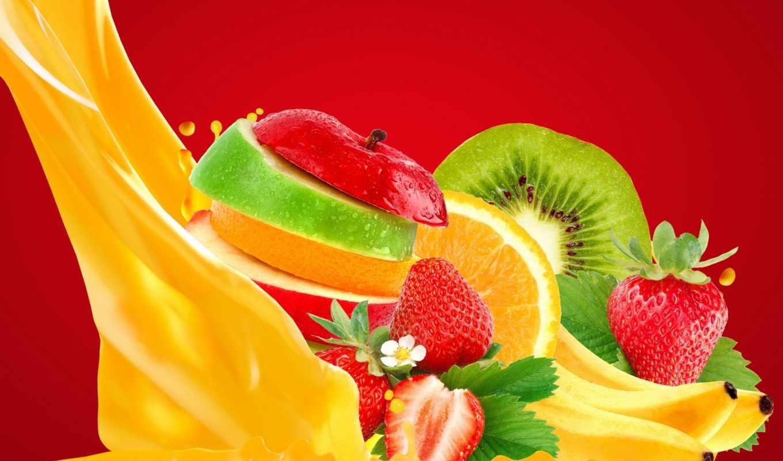 фрукты, ягоды, juice, фотообои, apple, клубника, яркие, фона,