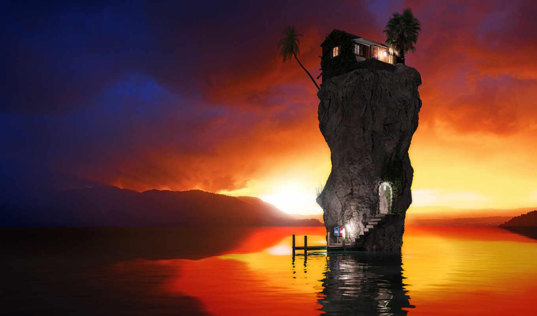 обои, скала, рендер, океан, дом, море, вечер, even