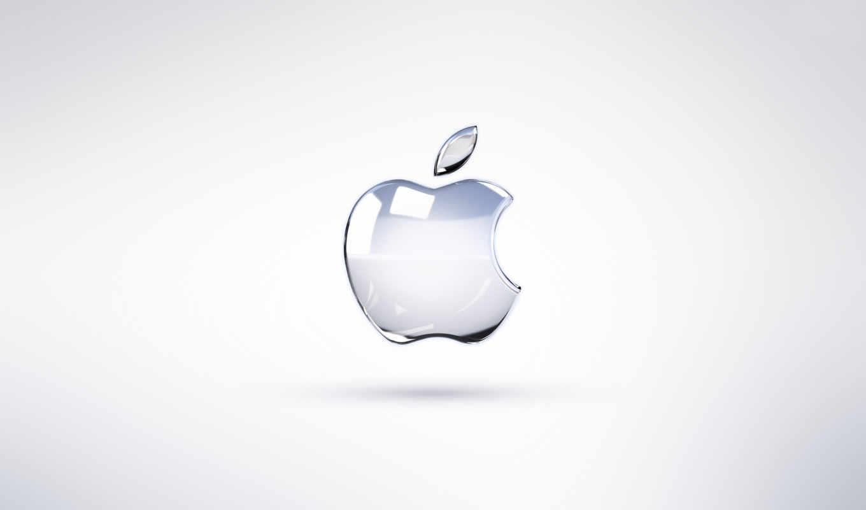 apple, logo, white, metallic