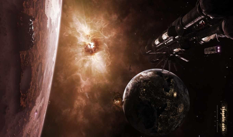 спутник, поверхность, планета, кратеры, spaceships,