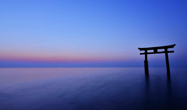 горизонт, море, вечер, ocean, закат, япония, тории, free,