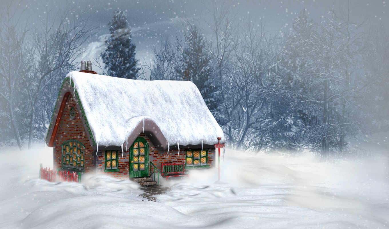 winter, год, new, природа, снег, house, landscape,