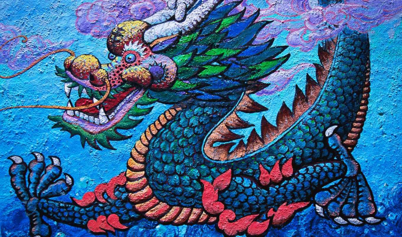 зубы, животные, дракон, взгляд, холсте,