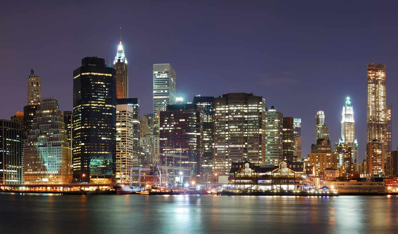 сша, небоскребы, america, дома, города, water, гор, ocean, море,