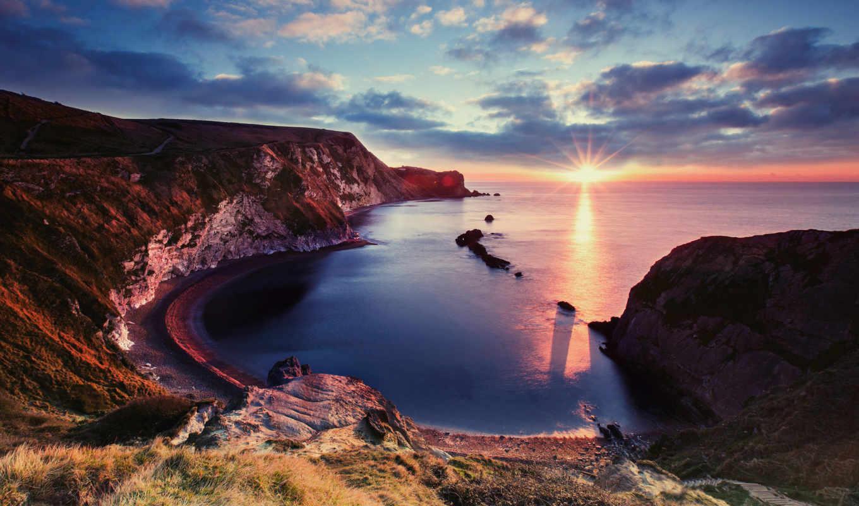 ocean, море, побережье, берег, вид, юрское, закат, landscape, красивый,