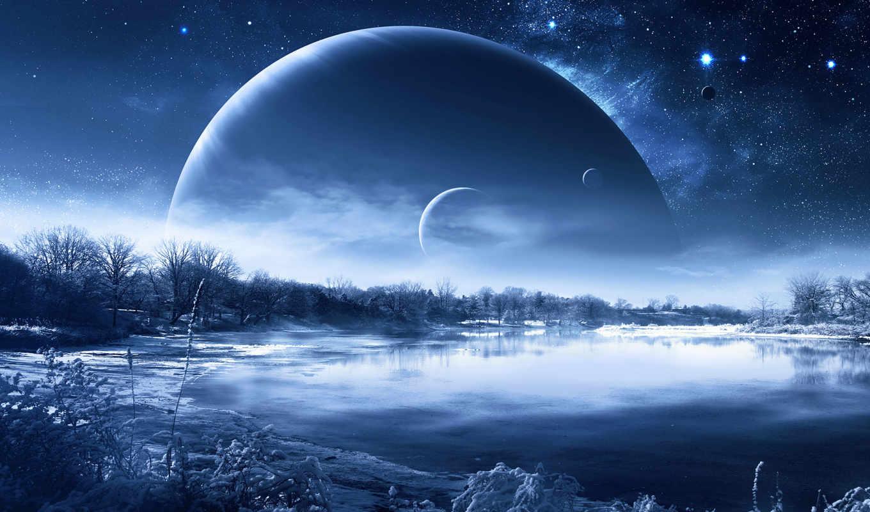 фантастический, пейзаж, noch, планеты, priroda,