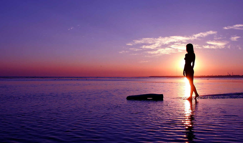 силуэты, девушка, силуэт, devushki, море, теги, картинка, закат, солнца,