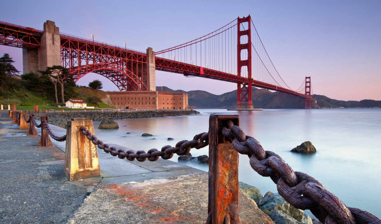 мост, золотистый, gate, san, francisco, art, туман, город,