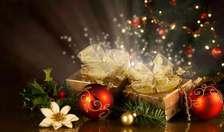 красные, подарки, праздник, украшения, новогодние, новый, год, елка, белый, цветок, шары,