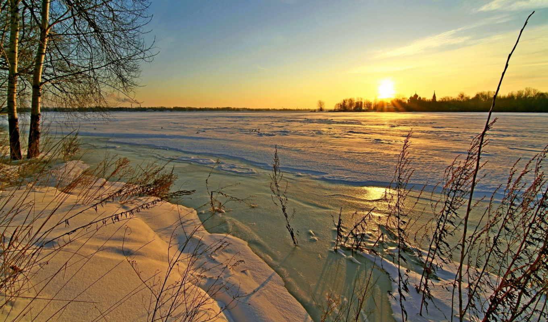 priroda, снег, закаты, zima, небо, рассветы, времена, года, oblaka, led,