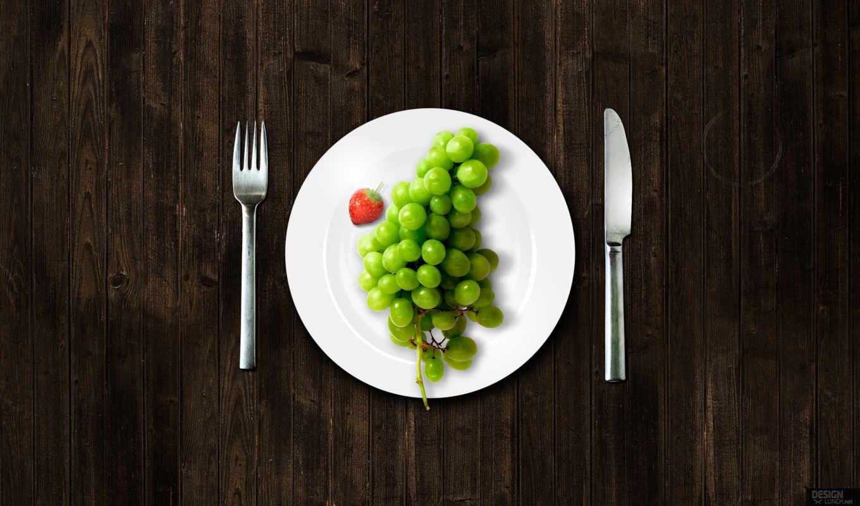 тарелка, виноград, вилка, дерево, нож, текстура, ягоды, еда, essen, abstrakt, клубника, картинка, красивые,