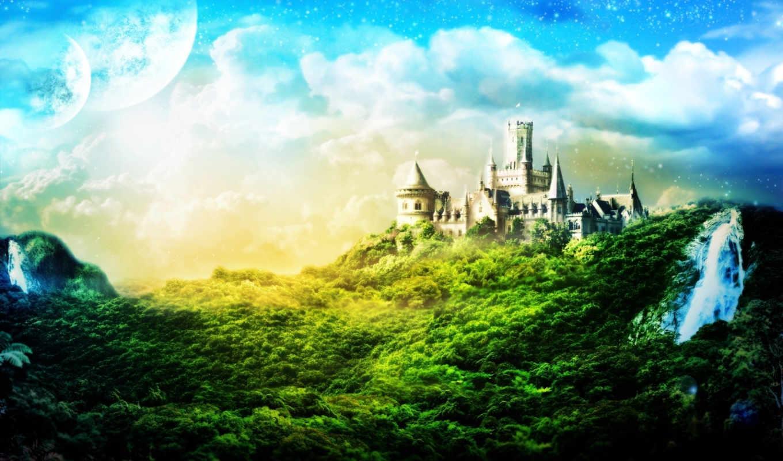 castle, fantasy, замок, forest, деревья, облака, горы, широкоформатные, пейзаж,