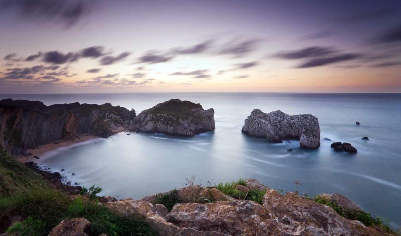 море, скалы, landscape, берег, закат,