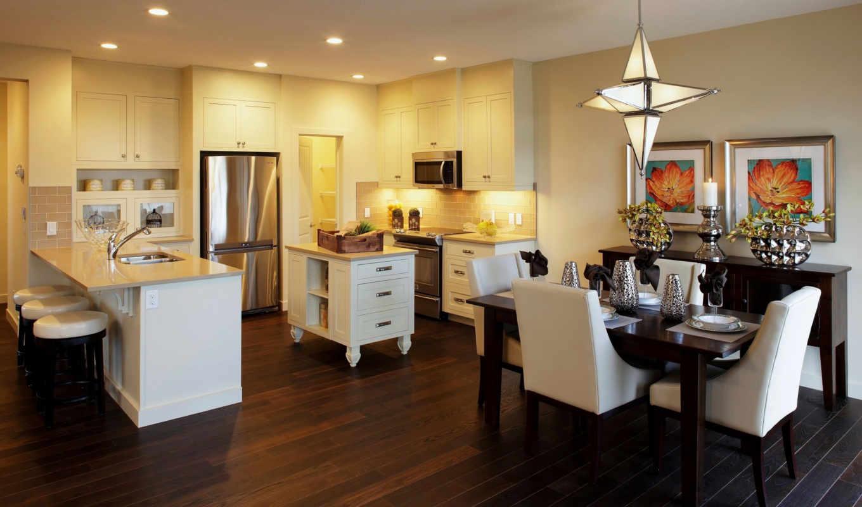 интерьер, design, kitchen, потолок, стулья,