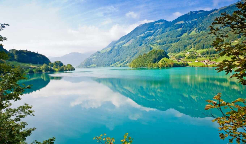 nature, горы, озеро, blue, небо, resolution, green, деревья, water, лес, mountains, similar, tags, hintergrundbilder, ветки, картинка,