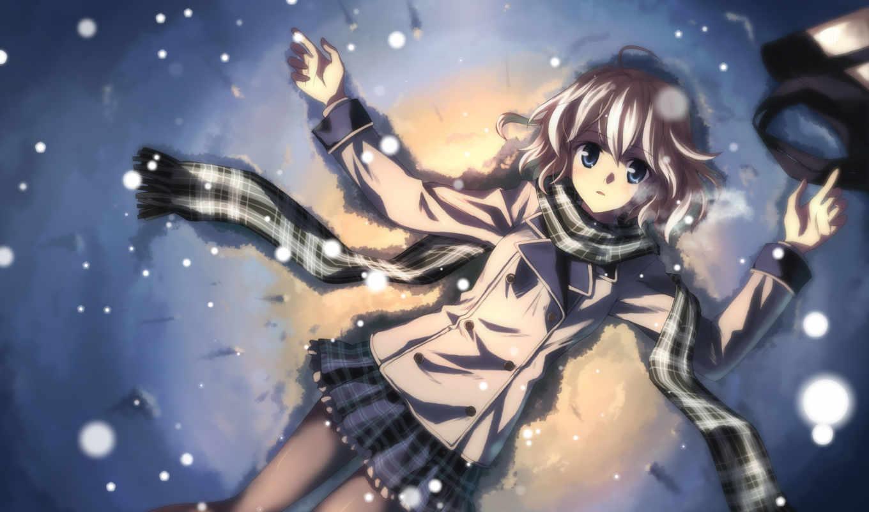 девушка, зима, лежит, взгляд, картинка, snow, шарфик,